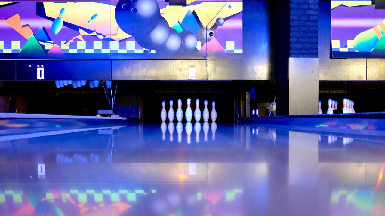 A bowling lane with pins